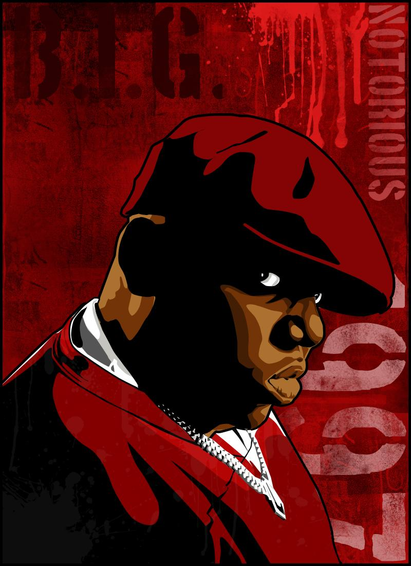 The Notorious B.I.G \ Biggie Smalls vector red by vikesh87